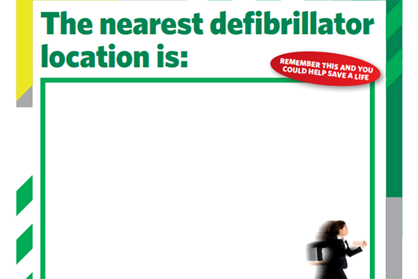 Defibrillator location poster