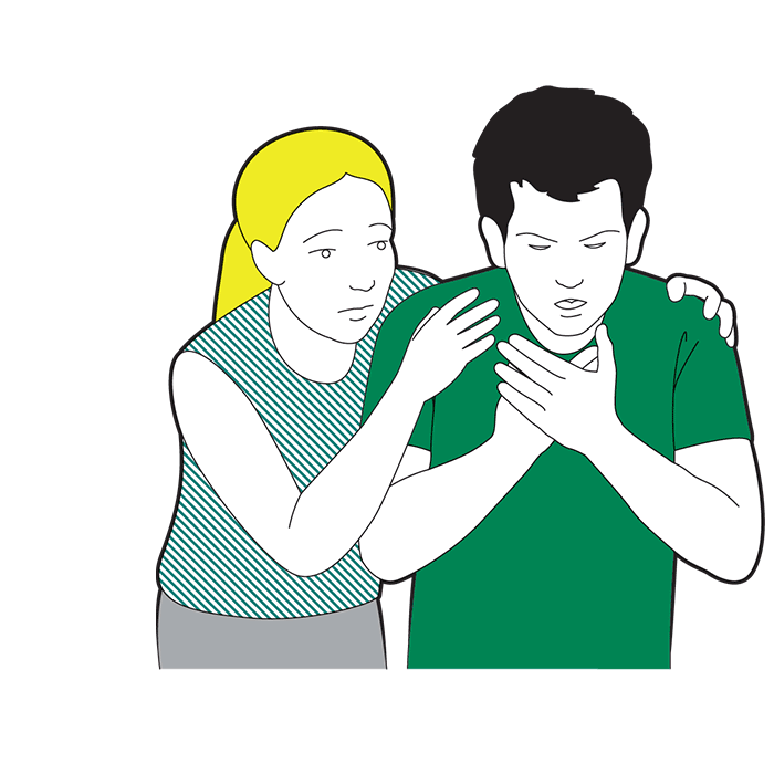 Adult choking first aid - encourage them to cough it out