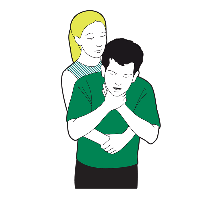 Adult choking first aid - give five abdominal thrusts