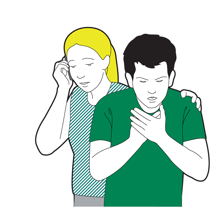 Adult choking first aid - if the block has not cleared, call 999 or 112