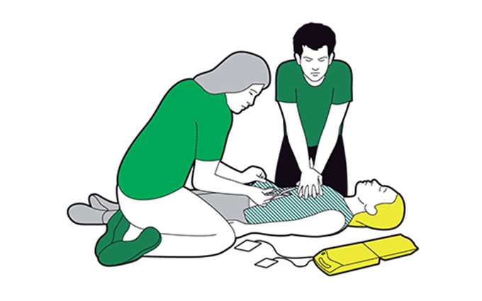 Adult CPR - if someone is unresponsive and not breathing, ask a helper to call 999 or 112 while you start CPR
