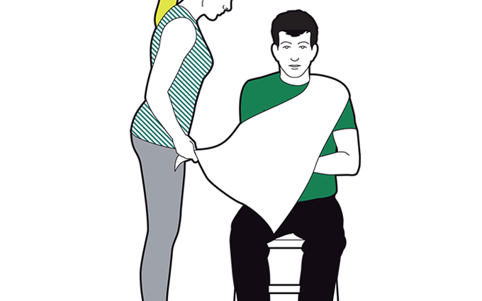 Elevation sling - lay the triangular bandage over the chest, on top of injured arm, with one end over uninjured shoulder