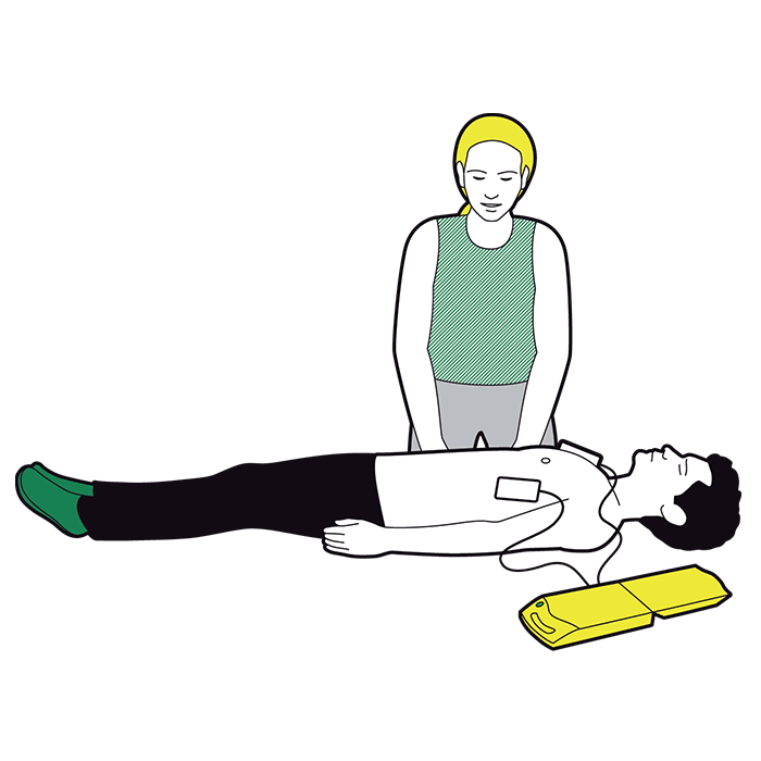 Using a defibrillator - follow visual and verbal prompts