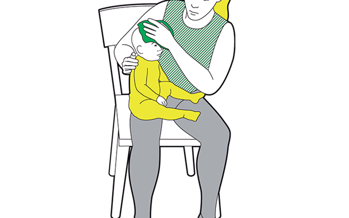 Baby head injury first aid - hold something cold against the injury