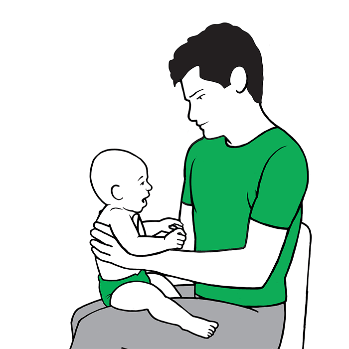 Baby croup first aid - sit the child on your knee and support their back