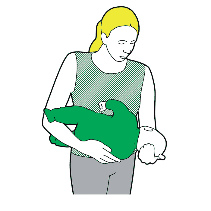 First aid - cradle your baby with the head tilted downwards