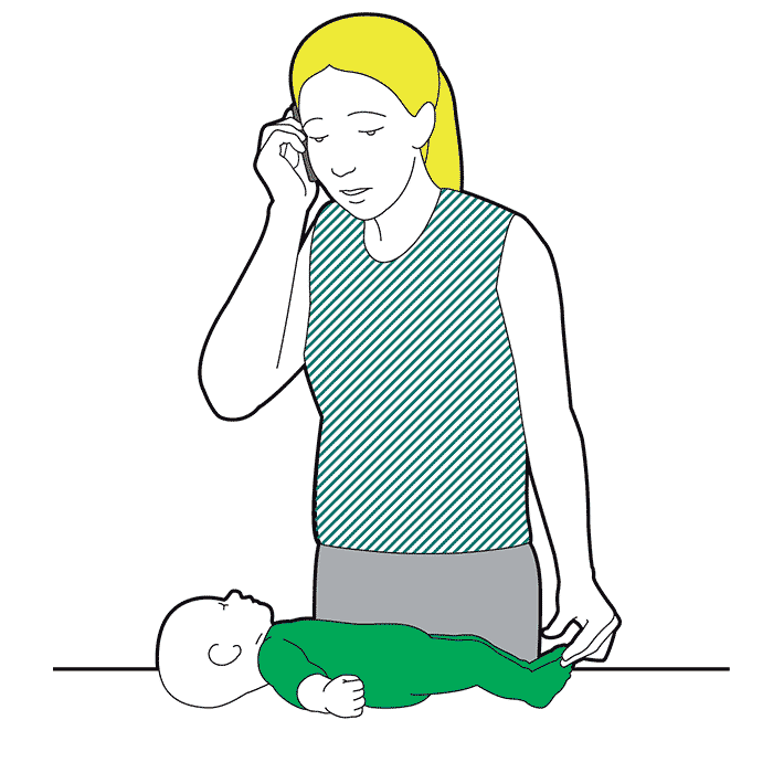 Baby recovery position - call for emergency help