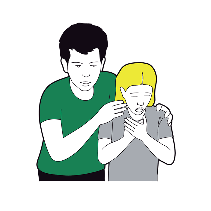 Child choking first aid - adult asks child 'Are you choking?'