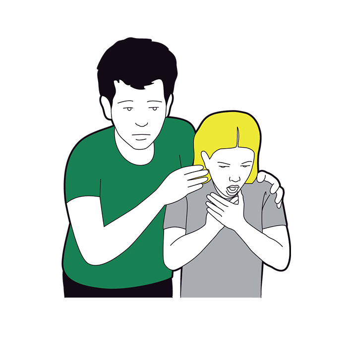 Child choking first aid - child coughs it out