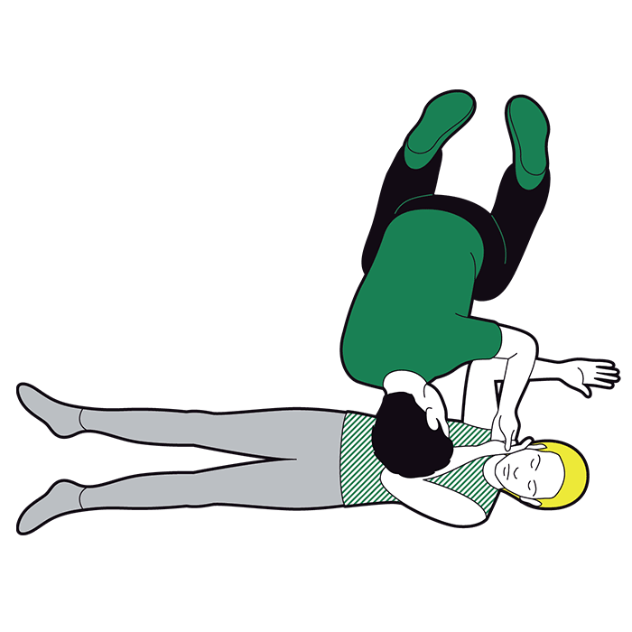 Adult recovery position - bring their other arm across their chest and place back of their hand against cheek