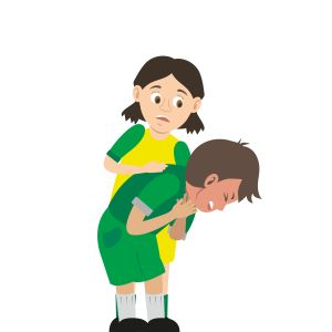 Child doing abdominal thrusts on a child who is choking.