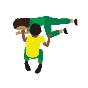A child putting someone into the recovery position.