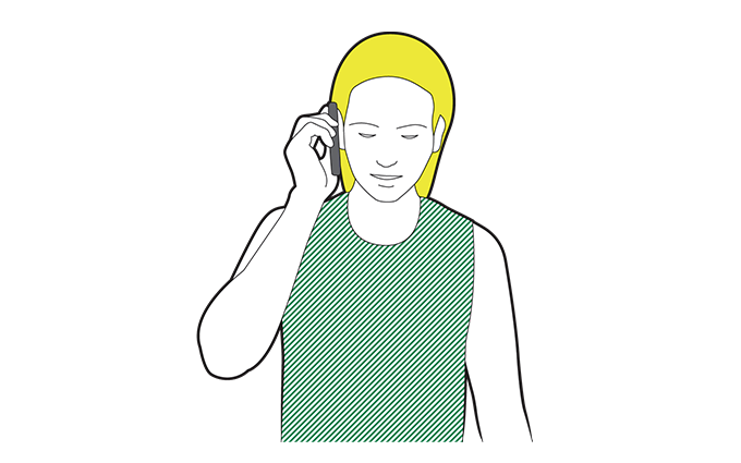 Illustration of a woman calling 999.