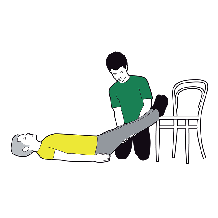 Shock first aid - help the casualty to lie down and raise their legs