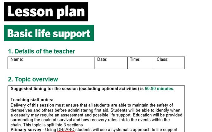 KS2-basic life support-lesson plan