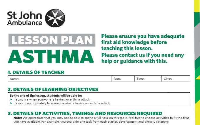 Asthma lesson plan image