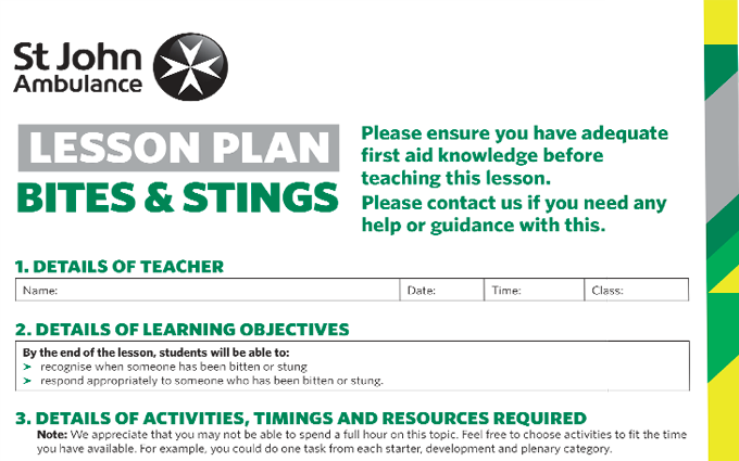 Bites and Stings lesson plan image