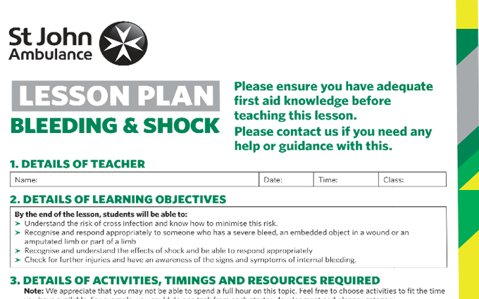 Bleeding and Shock lesson plan image