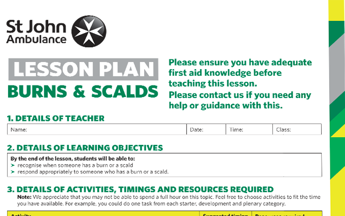 Burns and Scalds lesson plan image