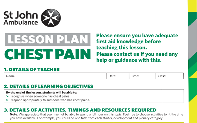 Chest Pain lesson plan image