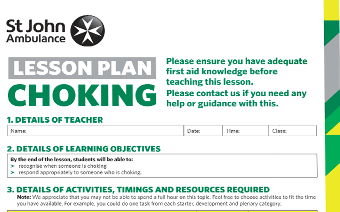 Choking (Adult) lesson plan image