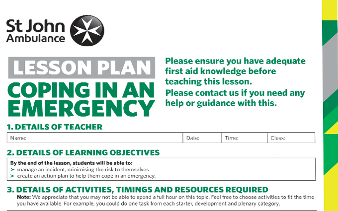 Coping in an Emergency lesson plan image