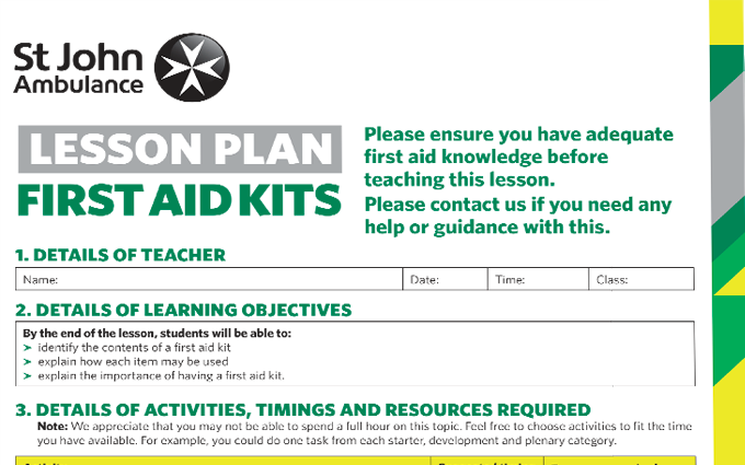 First Aid Kit lesson plan image