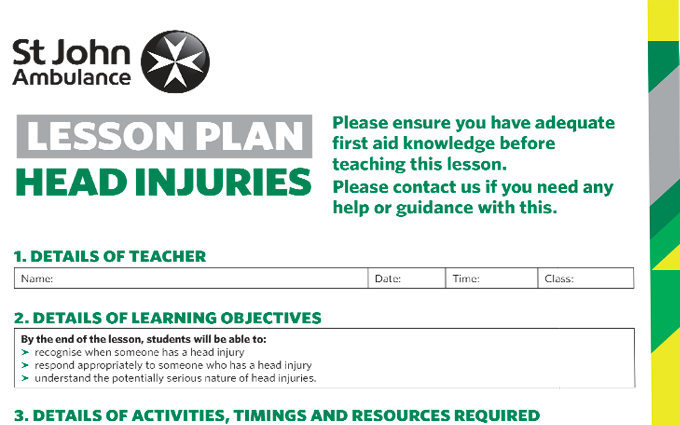 Head Injuries lesson plan image