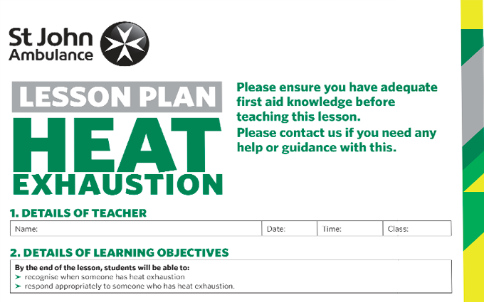 Heat Exhaustion lesson plan image