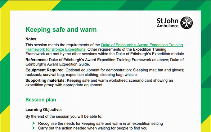 Image of Keeping Safe and Warm lesson plan