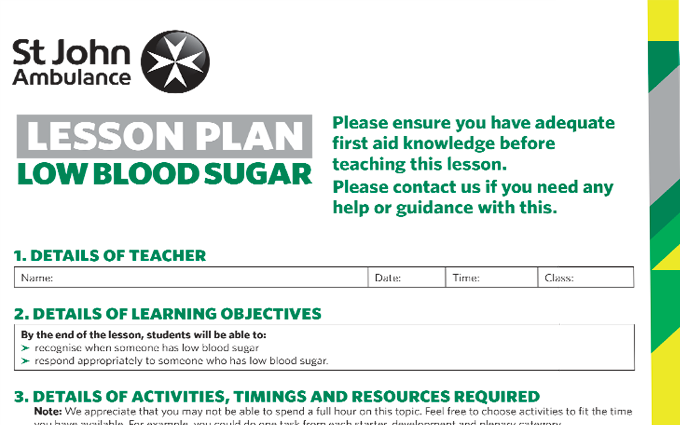 Low Blood Sugar lesson plan image