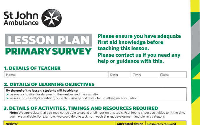 Primary Survey lesson plan image