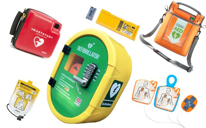 Defibrillator accessories, batteries and pads