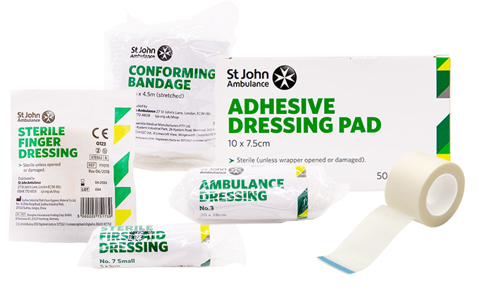 First aid dressings, bandages and tape
