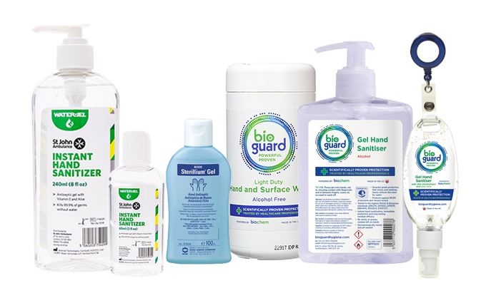 Hand sanitisers, wipes and disinfectants