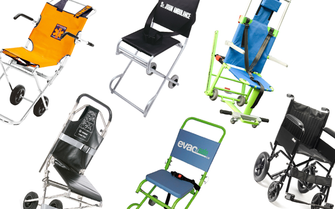 Evacuation chairs and wheelchairs