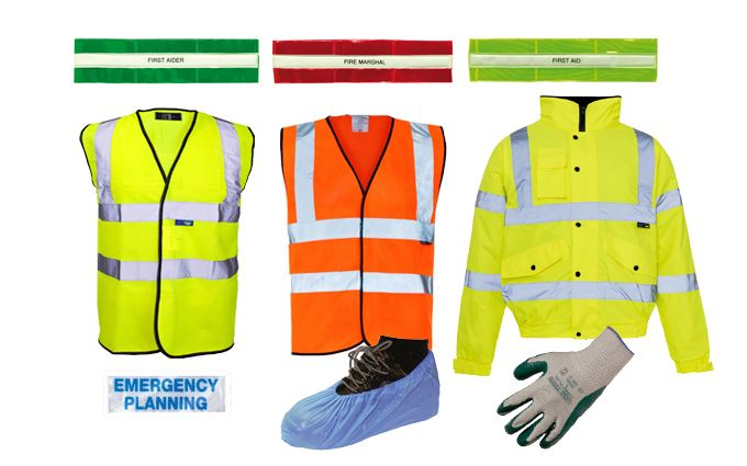 Hi-visibility clothing, armbands and gloves