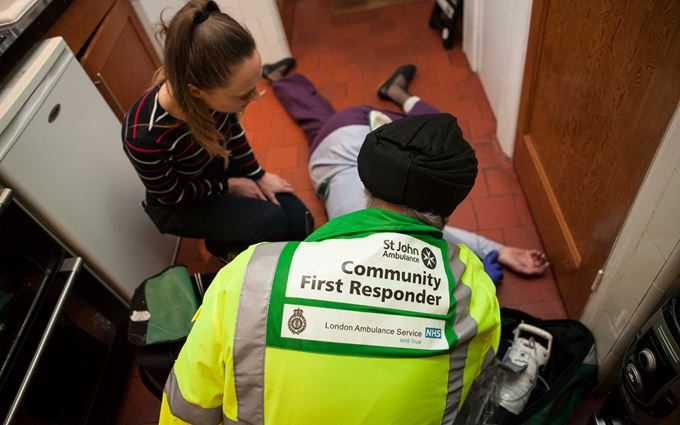 Community First Responder treating a collapsed woman
