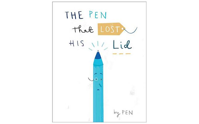 "Drawing of a pen with a caption saying "" the pen that lost his lid""."