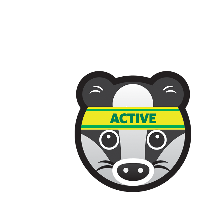 Active Badger icon showing a cartoon badger's face with a yellow sports sweat band with the word active.
