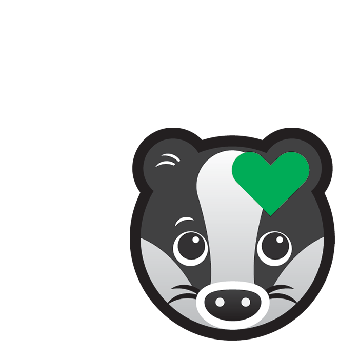 Cartoon badger's face with a small green heart on its ear.