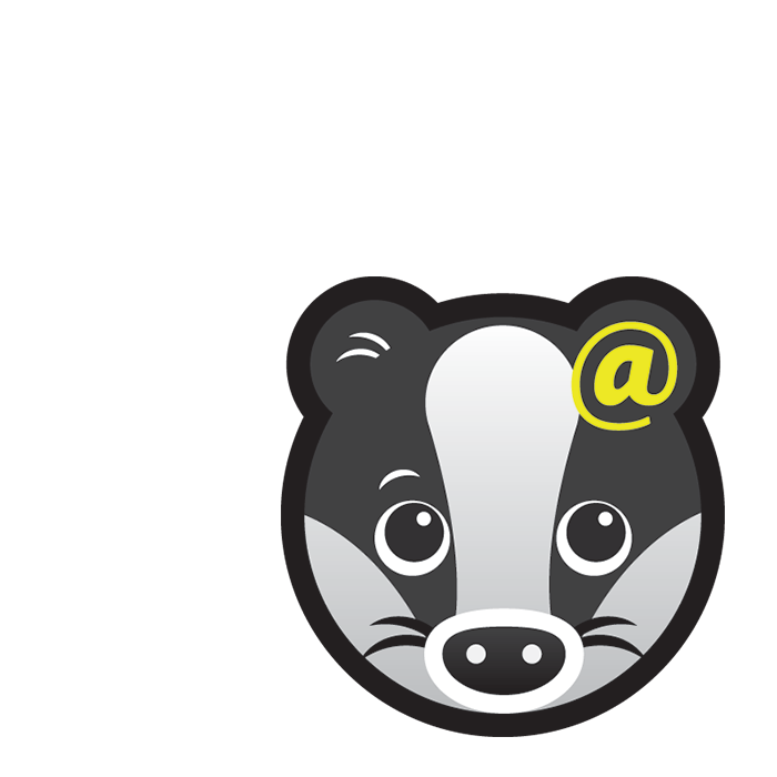 Communicate Badger subject icon showing a cartoon badger's face with a yellow @ symbol on its ear.