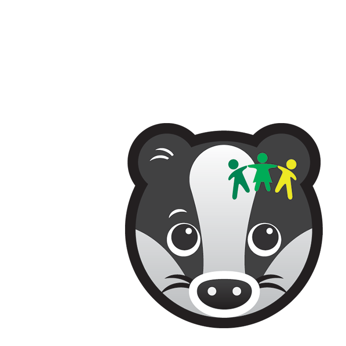 Community Badger subject icon showing a cartoon badger's face with an graphic of 3 people holding hands on its ear.