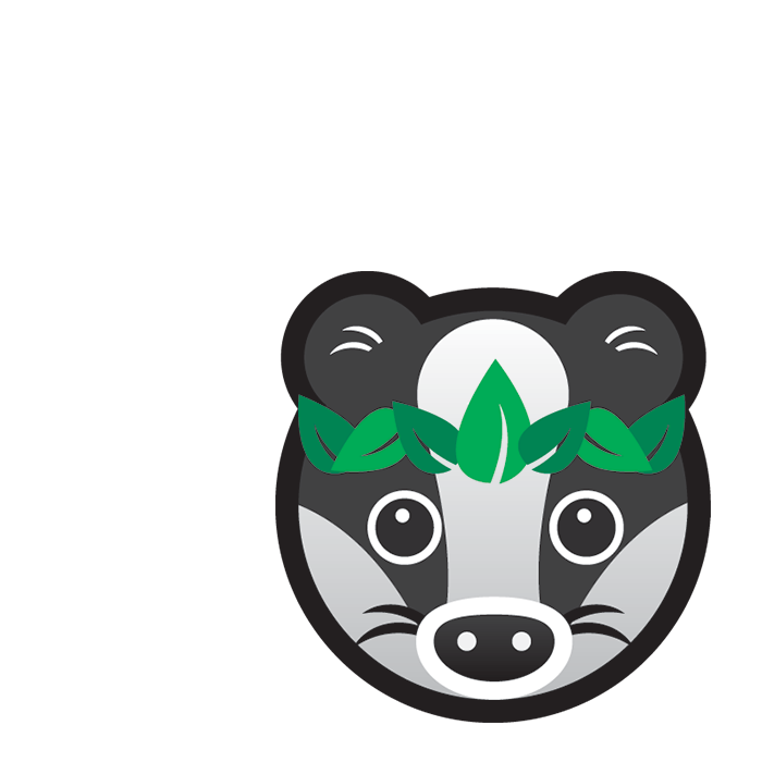 Eco Badger subject icon showing a cartoon badger's face wearing a wreath of green leaves.