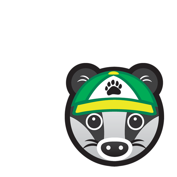 St John Family Badger subject icon showing a cartoon badger's face wearing a green baseball cap with a pawprint logo.