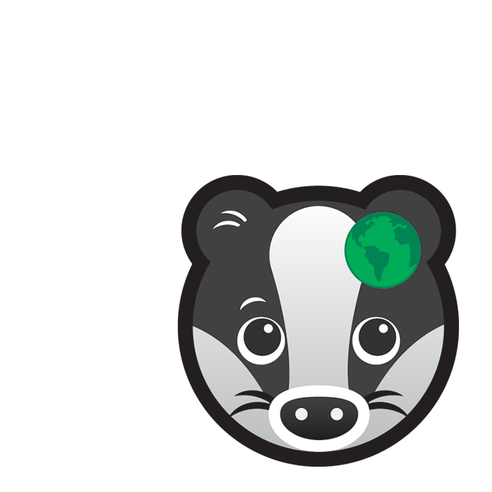Global Badger subject icon showing a cartoon badger's face with a small green earth on its ear.