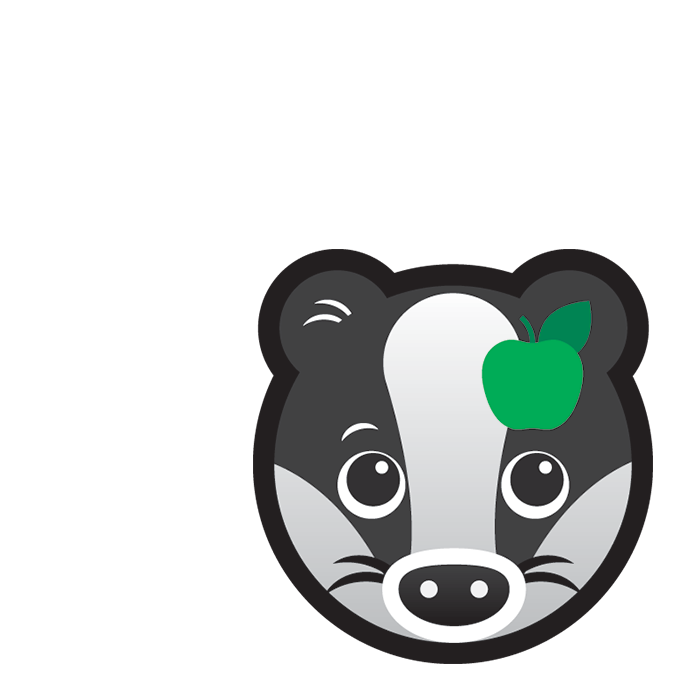 Healthy Badger subject icon showing a cartoon badger's face with a green apple on its ear.