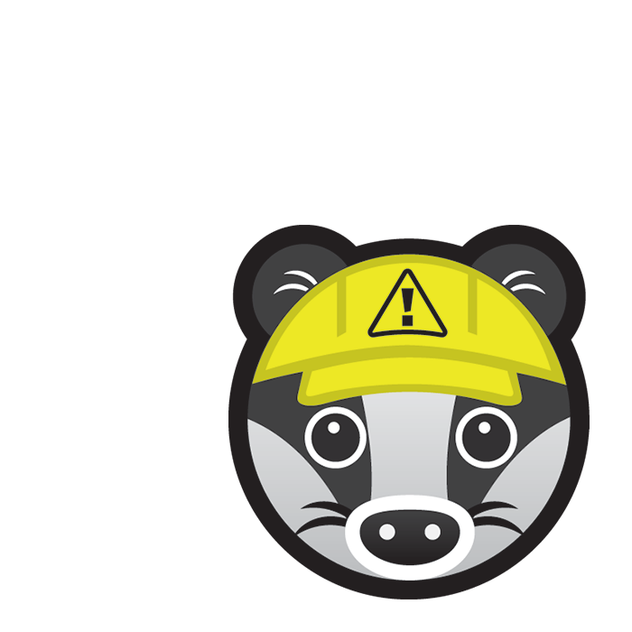 Safety Badger subject icon showing a cartoon badger's face wearing a yellow hard construction hat.