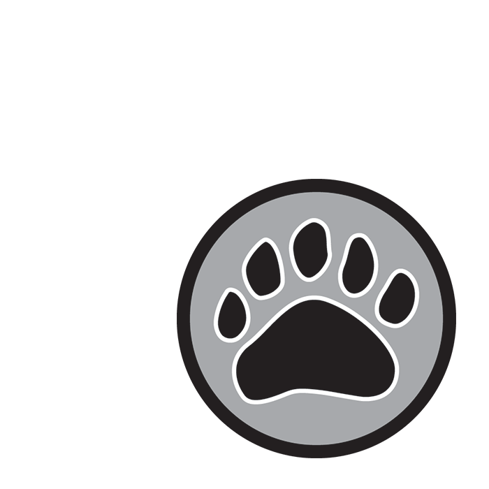 Badgers silver award logo showing a badger's pawprint on a silver circular background.