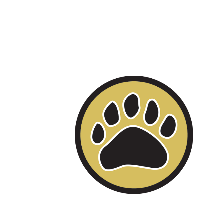 Super Badger Award icon showing a pawprint on a dark gold circular background.